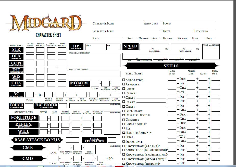 Nbos Character Sheet Designer Review : Midgard character sheet pathfinder rpg kobold press store