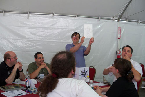 Wolfgang shows off the rum gremlin (Photo courtesy of James and Tracy L. Thomas)