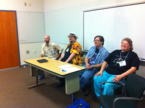 The world-building seminar with Hodge, Grubb, Baur, and Stiles (Courtesy of Brandon Hodge)