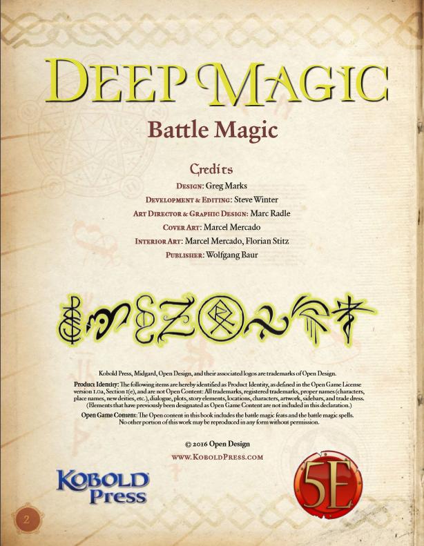 Deep Magic: Battle Magic PDF (5th Edition)