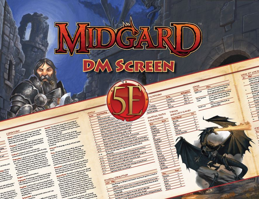 photo relating to Pathfinder Gm Screen Printable referred to as Midgard DMs Display Individuality Sheets for 5th Model (Print)