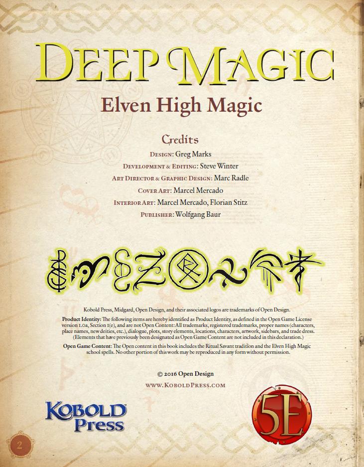 Deep Magic: Elven High Magic PDF (5th Edition)