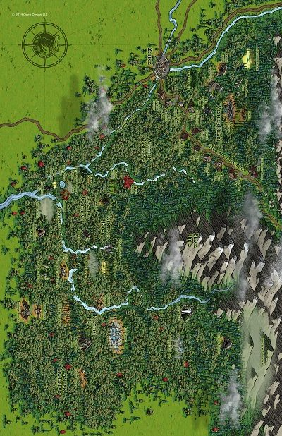 Forest Map with Rivers and Mountains