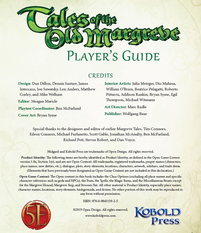 Margreve Player S Guide For 5th Edition Kobold Press Store