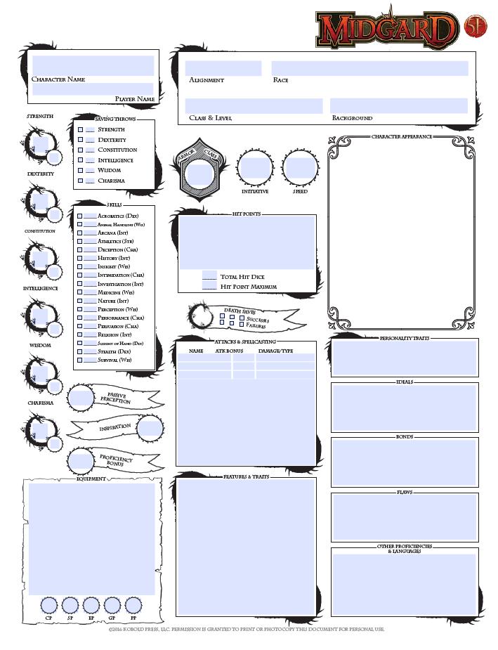 Nbos Character Sheet Designer Review : Midgard character sheet th edition kobold press store