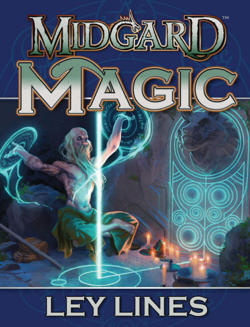 Midgard Magic cover wizard calling on magical power at a standing stone ley nexus