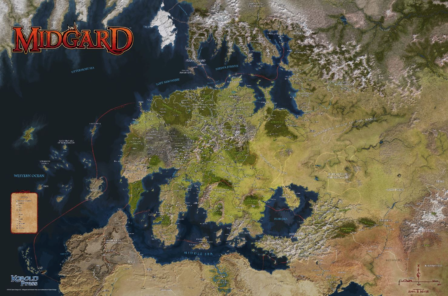 Midgard and Zobeck Poster Map 2018 Rolled by Anna Meyer Kobold