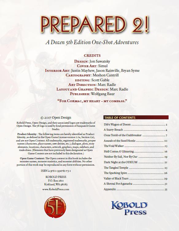 Prepared 2: A Dozen One-Shot Adventures for 5th Edition