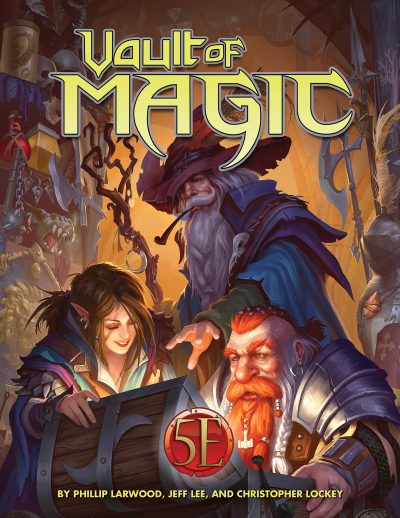 A wizard, dwarf, and rogue open a treasure chest with text VAULT OF MAGIC