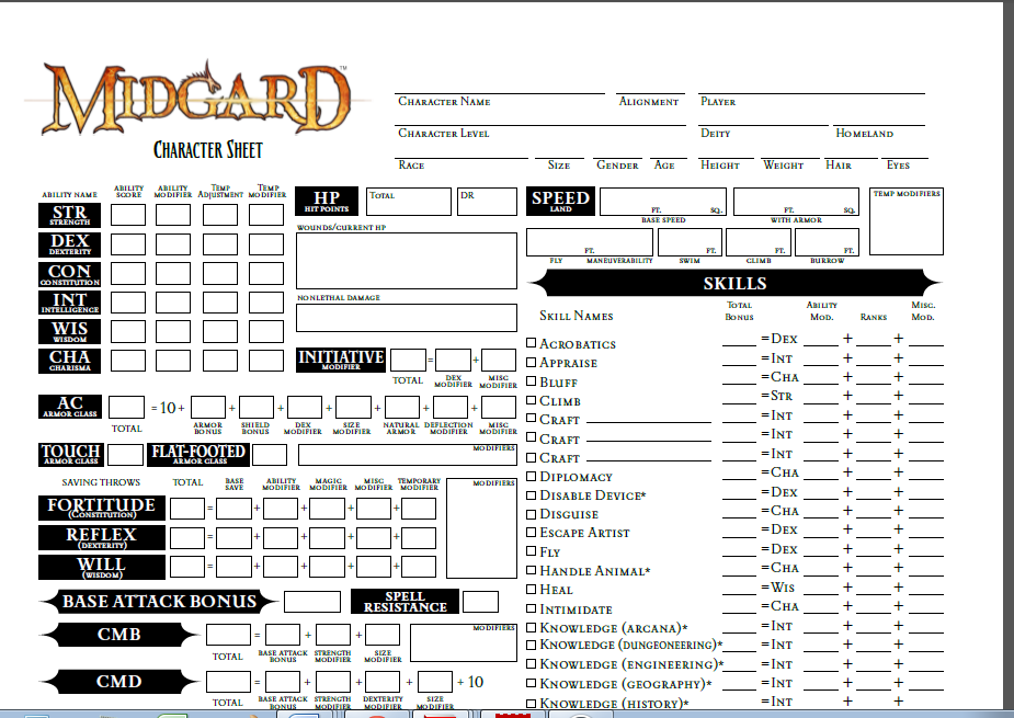 Character Design From The Ground Up Pdf Download : Midgard character sheet pathfinder rpg kobold press store