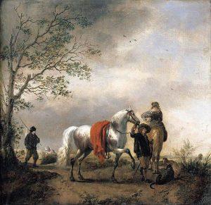 Philips Wouwerman, Cavalier Holding a Dappled Grey Horse
