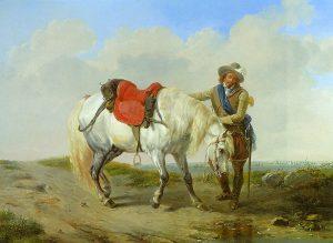 Eugene Verboeckhoven, A Cavalier Watering His Mount (1852)