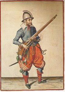 Musketeer by Jacob de Gheyn - Wapenhandelingen van Roers, Musquetten ende Spiesen (1608)
