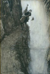 Holmes and Moriarty struggle at the Reichenbach Falls; drawing by Sidney Paget