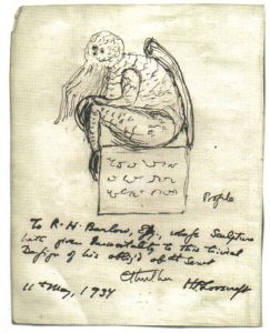 A sketch of the fictional character Cthulhu, drawn by his creator, H. P. Lovecraft, May 11, 1934