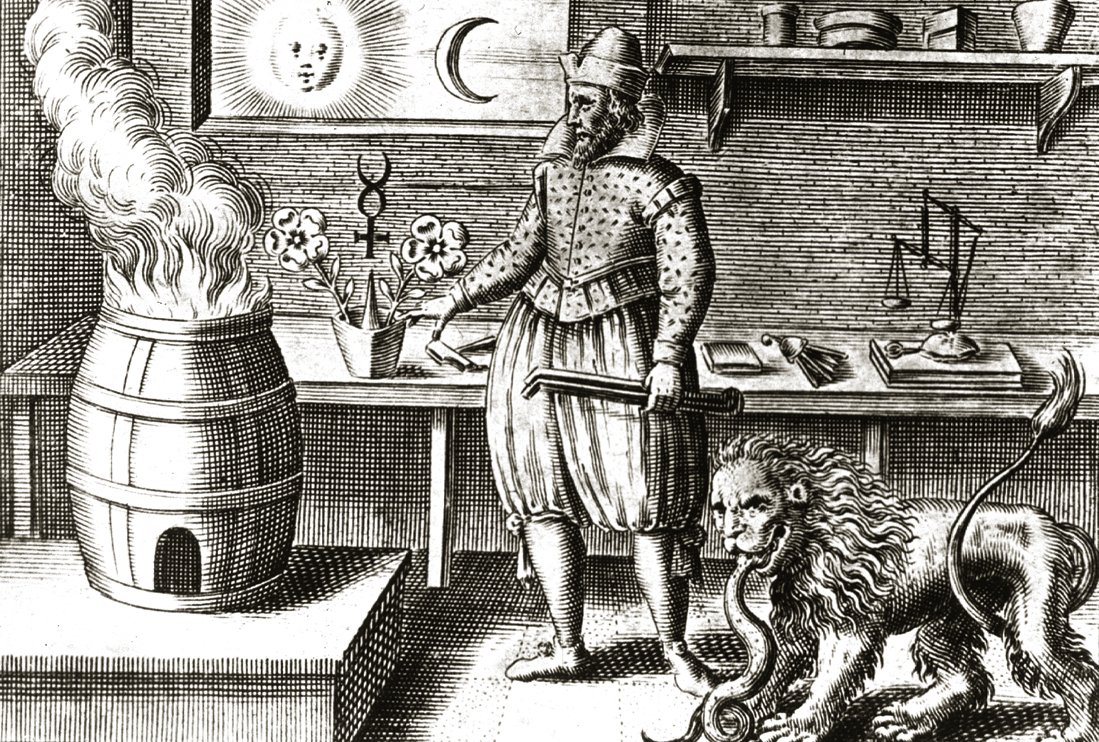 Illustration of an alchemy workshop. Courtesy of the National Library of Medicine.