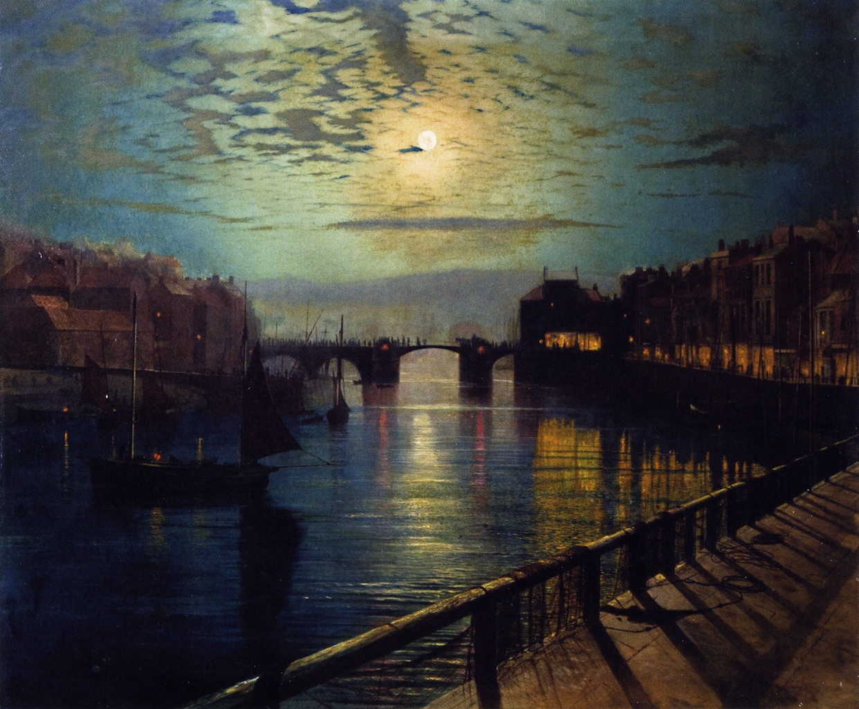 Whitby Harbor by Moonlight - John Atkinson Grimshaw