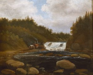 Landscape with mill and rapids by Peder Balke-1840