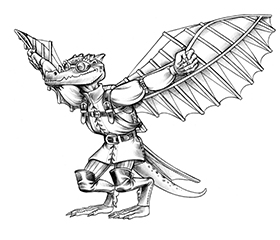 A kobold with davinci style wings.
